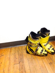 Lonely yellow ski boots
