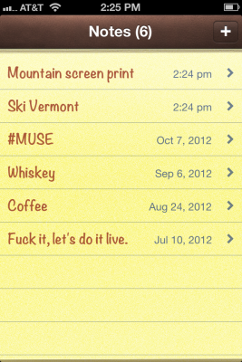 iPhone Notes Screenshot